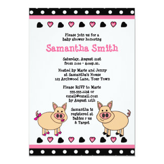 "Cute Pink Piggy Baby Shower Invitation 5"" X 7"" Invitation Card"