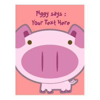 CUTE PINK PIGGY POSTCARD
