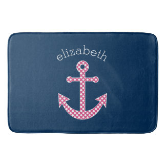Cute Pink Polka Dot Anchor with Navy Custom Name Bath Mat