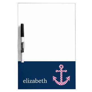 Cute Pink Polka Dot Anchor with Navy Custom Name Dry Erase Board