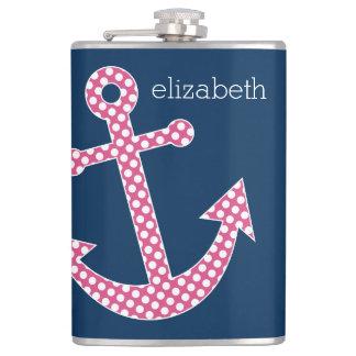 Cute Pink Polka Dot Anchor with Navy Custom Name Hip Flask
