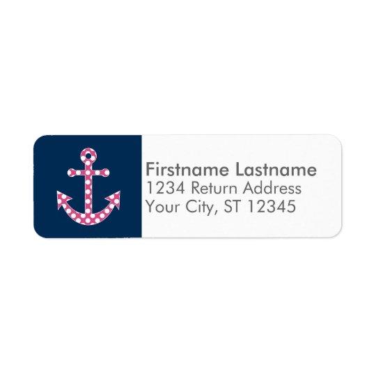 Cute Pink Polka Dot Anchor with Navy Custom Name Return Address Label