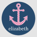 Cute Pink Polka Dot Anchor with Navy Custom Name Round Sticker