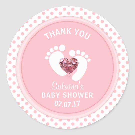Cute Pink Polka Dot Baby Shower/Sprinkle Girl Classic