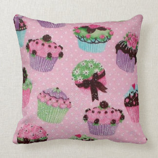 Cute Pink Polka Dot Cupcake Throw Pillow
