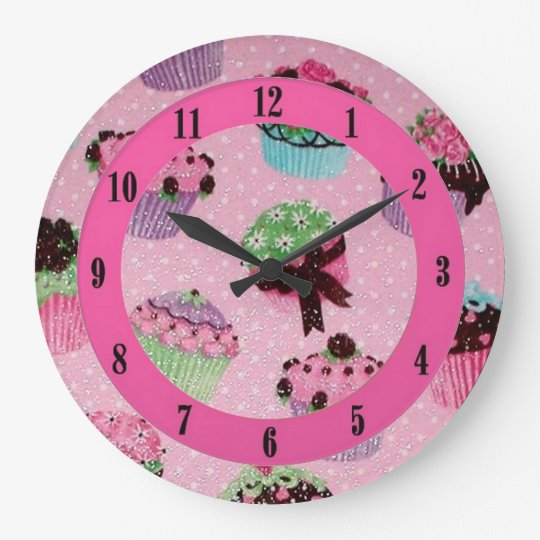 Cute Pink Polka Dot Cupcake Wall Clock. Large
