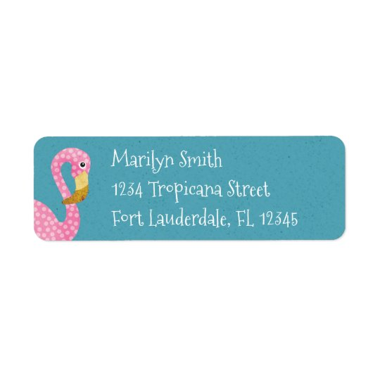 Cute Pink Polka Dot Flamingo Return Address Label