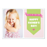 Cute Pink Polka Dots | Father's Day Flat Card 13 Cm X 18 Cm Invitation Card