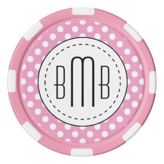 Cute Pink Polka Dots Pattern Poker Chips