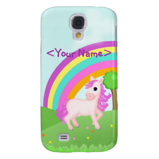 Cute Pink Pony Horse in Colorful Field Scene Samsung Galaxy S4 Cases
