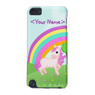 Cute Pink Pony Horse in Colorful Field Scene iPod Touch 5G Covers