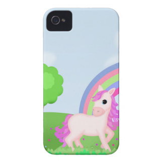 Cute Pink Pony Horse in Colorful Fields iPhone 4 Cases