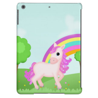 Cute Pink Pony Horse in Colorful Fields Case For iPad Air