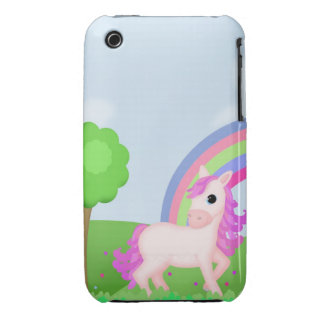 Cute Pink Pony Horse in Colorful Fields iPhone 3 Case