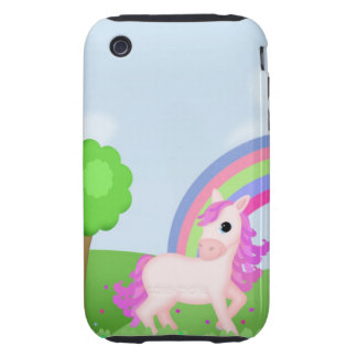 Cute Pink Pony Horse in Colorful Fields Tough iPhone 3 Case