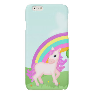 Cute Pink Pony Horse in Colorful Fields iPhone 6 Plus Case