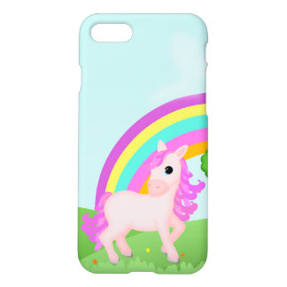 Cute Pink Pony Horse in Colorful Fields iPhone 7 Case