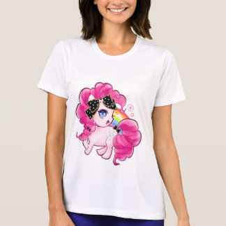 Cute pink pony with kawaii black bow and rainbow t shirts
