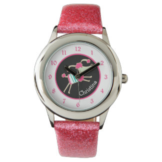 Cute Pink Poodle Personalized Kids Watch