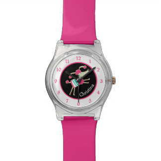 Cute Pink Poodle Personalized Watch