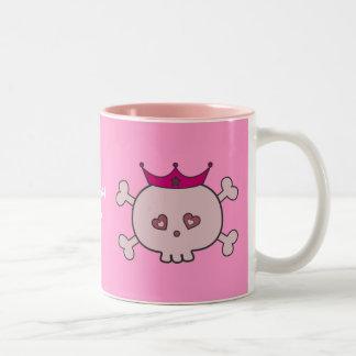 Cute Pink Princess Skulls Personalized Two-Tone Coffee Mug