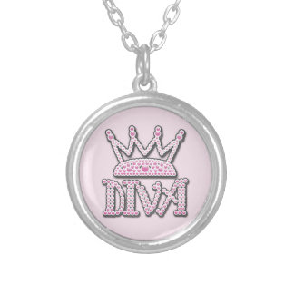 Cute Pink Printed Pearls Diva Crown Silver Plated Necklace