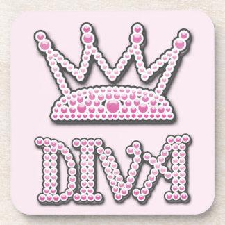 Cute Pink Printed Pearls Diva Princess Crown Coasters