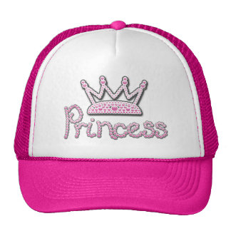 Cute Pink Printed Pearls Princess Crown Cap