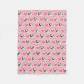 Cute Pink Pugs with Hearts Blanket