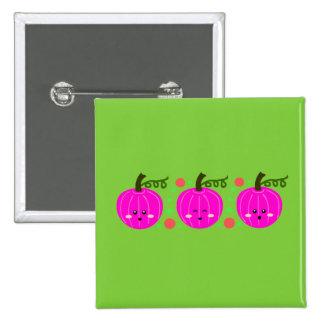Cute Pink Pumpkins 15 Cm Square Badge