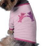 Cute Pink & Purple Cartoon Teddy Bears Custom Doggie T-shirt