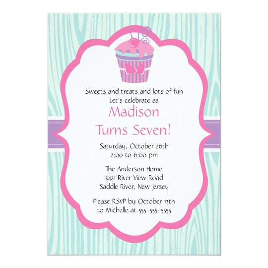 Cute Pink & Purple Cupcake Girl Birthday Party
