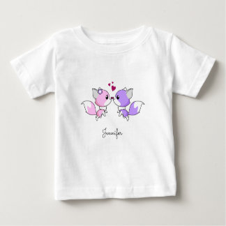 Cute pink purple kawaii foxes cartoon baby shirt