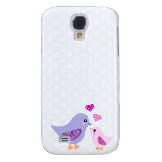 Cute pink & purple mother and child birds galaxy s4 case