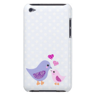Cute pink & purple mother and child birds iPod touch covers