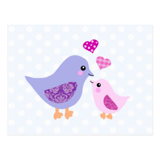 Cute pink & purple mother and child birds post cards