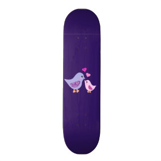 Cute pink purple mother and child birds skate board decks