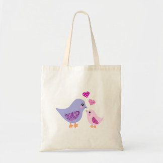 Cute pink & purple mother and child birds tote bag