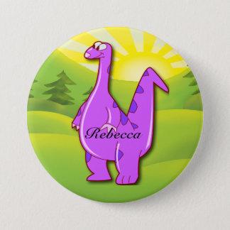 Cute pink purple Personalized Dinosaur 7.5 Cm Round Badge