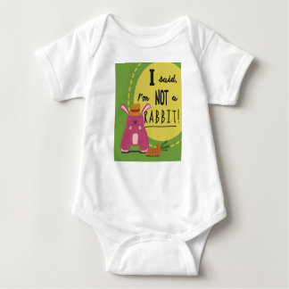 Cute Pink Rabbit Eating an Orange Carrot Baby Bodysuit