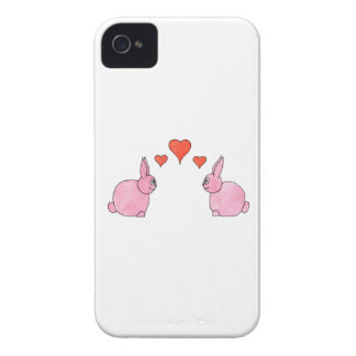 Cute Pink Rabbits with Red Love Hearts. iPhone 4 Case-Mate Case