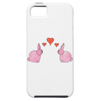 Cute Pink Rabbits with Red Love Hearts. iPhone 5 Case