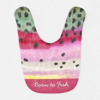 """Cute Pink Rainbow Trout """"Born to Fish"""" Bib"""