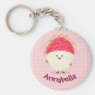 Cute pink rambutan cartoon illustration key ring