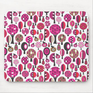 Cute pink retro flower trees and leafs mouse pad