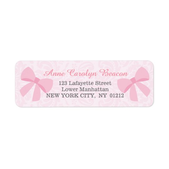 Cute Pink Ribbon Bow Damask Personalised