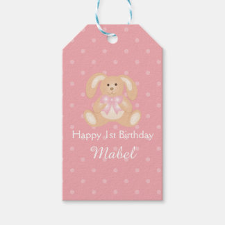 Cute Pink Ribbon Bunny Rabbit First Birthday Party Gift Tags