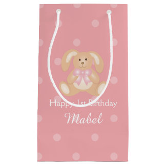 Cute Pink Ribbon Bunny Rabbit First Birthday Party Small Gift Bag