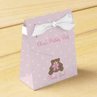 Cute Pink Ribbon Teddy Bear Girl Birthday Party Favour Box