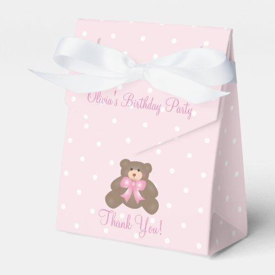 Cute Pink Ribbon Teddy Bear Girl Birthday Party